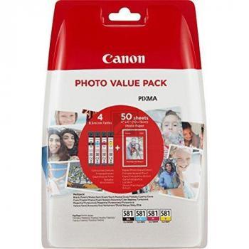 Canon Tintenpatrone gelb cyan magenta schwarz (2052C004, CLI-581BKXL CLI-581CXL CLI-581MXL CLI-581YXL)