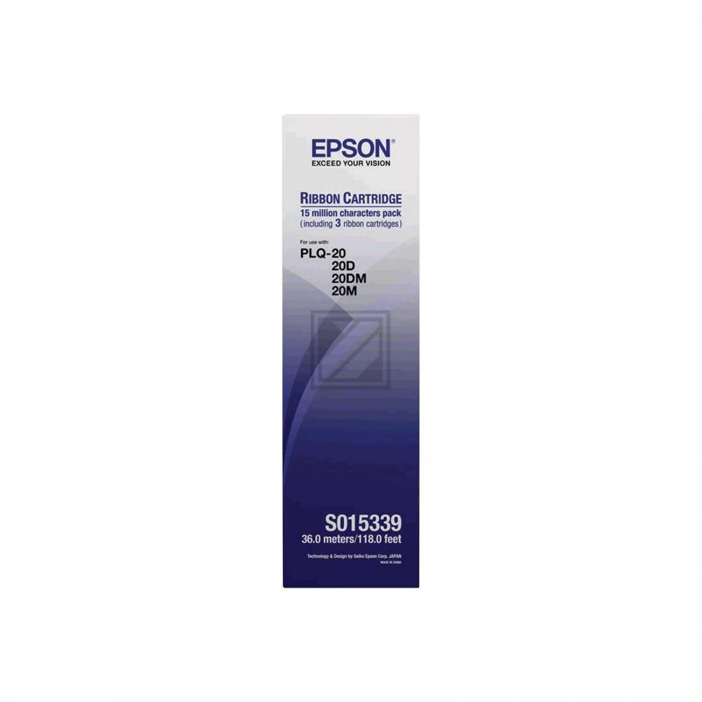 Original Epson C13S015339 / S015339 Farbband Schwarz 3er Set