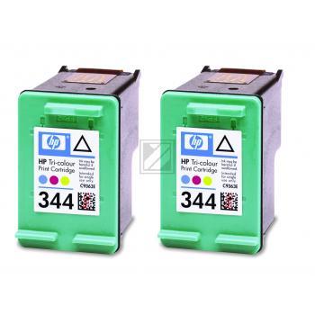 Hewlett Packard Tintenpatrone 2x cyan/gelb/magenta High-Capacity (C9505EE, 2x 344)