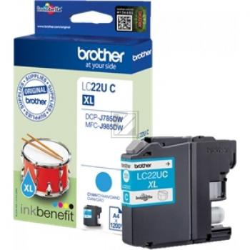 Original Brother LC22UC Tinte Cyan