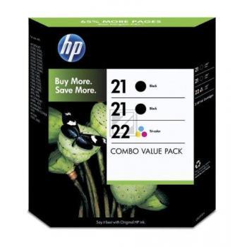 Hewlett Packard Tintenpatrone cyan/gelb/magenta 2x schwarz (SD400AE, 21 22)