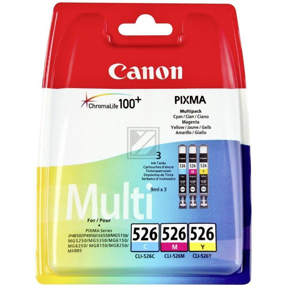 Canon Tintenpatrone gelb, cyan, magenta (4541B009, CLI-526C, CLI-526M, CLI-526Y)