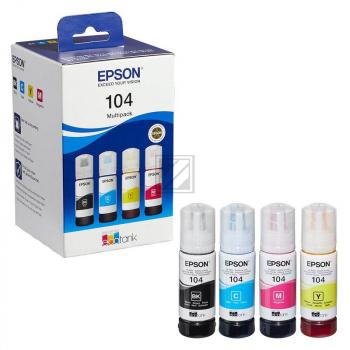 Epson Tintennachfüllfläschchen (ecotank) gelb, cyan, schwarz, magenta (C13T00P640, 104)