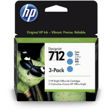 HP Tintenpatrone 3 x cyan (3ED77A, 712)