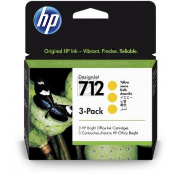 HP Tintenpatrone 3 x gelb (3ED79A, 712)