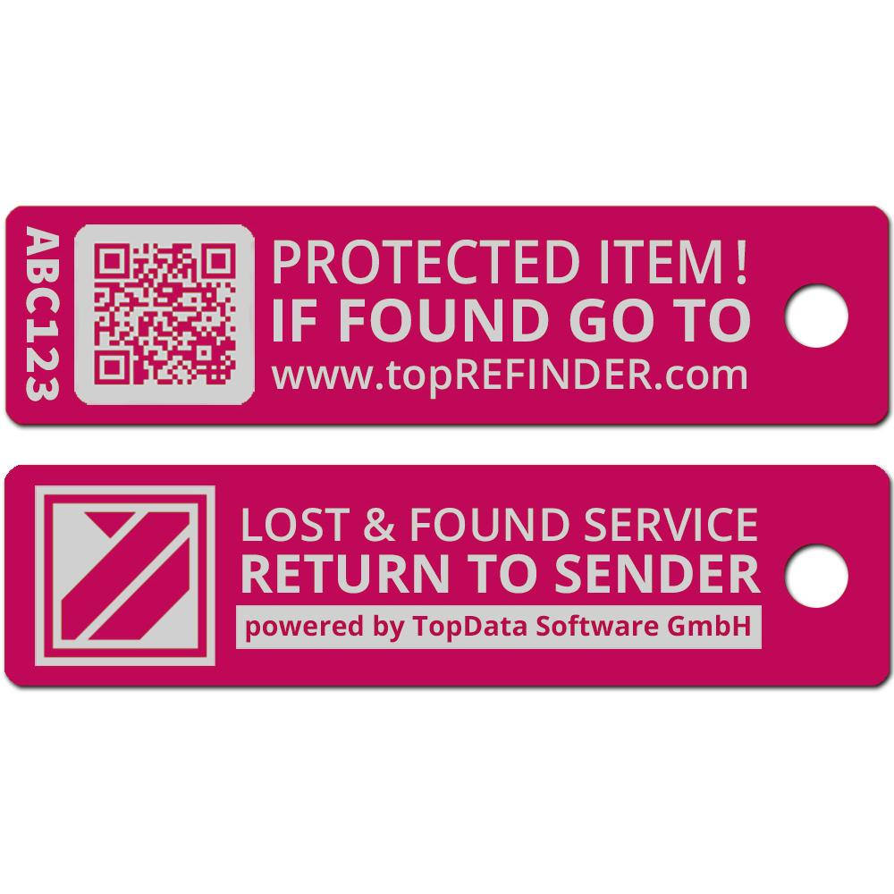 Hochwertiger Aluminium-Anhänger zur anonymen Kennzeichnung Ihres Eigentums, in Pink (Ideal zum Schutz Ihres Schlüssels vor Verlust)