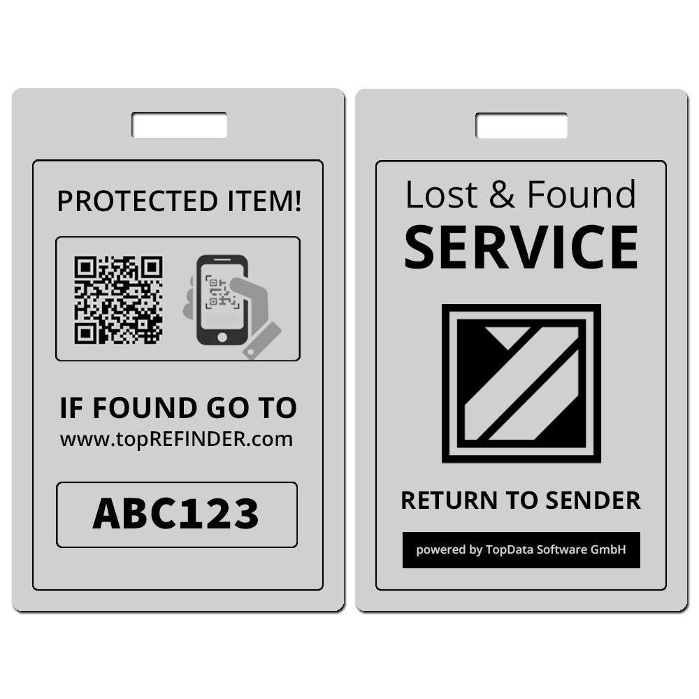 Hochwertiger Universal Aluminium-Anhänger zur anonymen Kennzeichnung Ihres Eigentums, in Silber-Matt (schützt Ihre Taschen, Koffer, Rucksäcke uvm. vor Verlust)