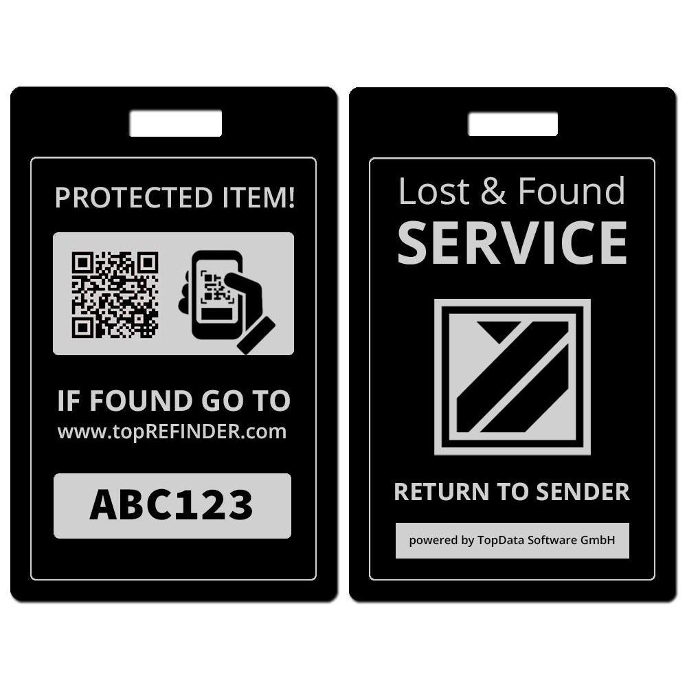 Hochwertiger Universal Aluminium-Anhänger zur anonymen Kennzeichnung Ihres Eigentums, in Schwarz (schützt Ihre Taschen, Koffer, Rucksäcke uvm. vor Verlust)
