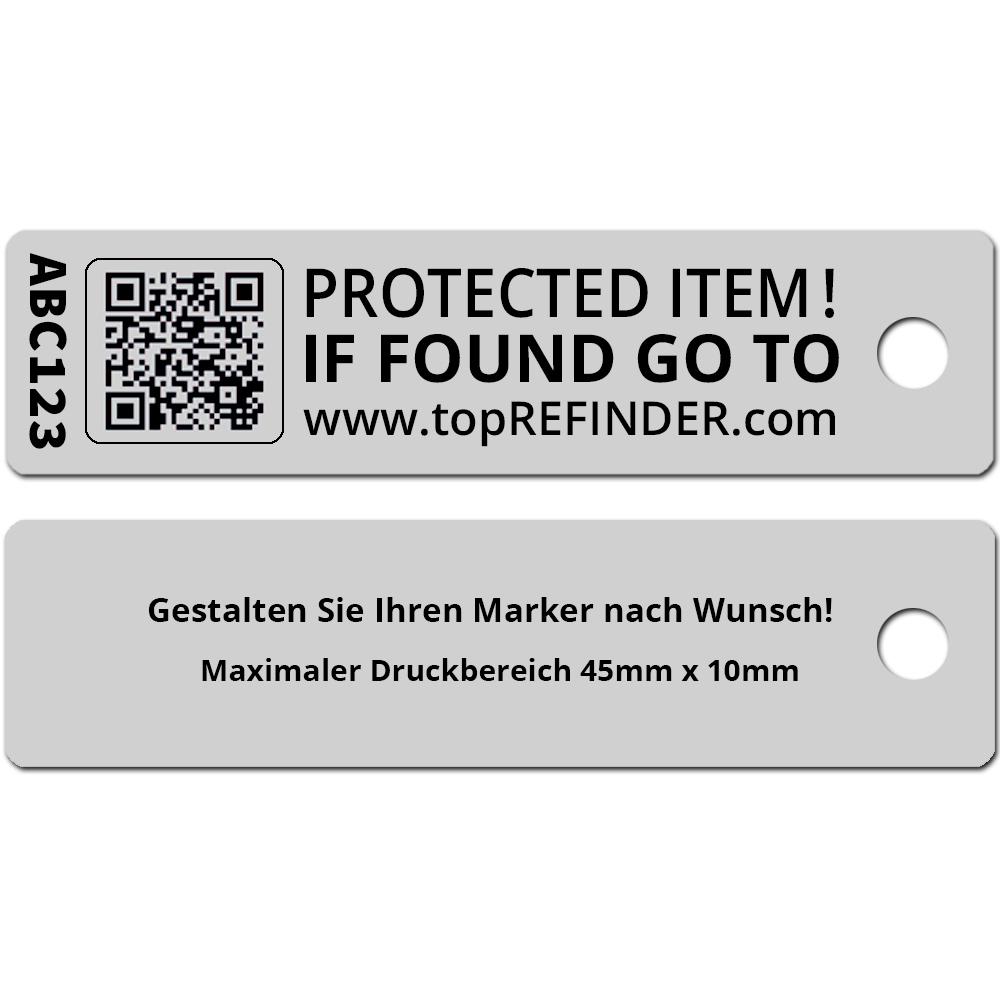 Hochwertiger, individueller Aluminium-Anhänger zur anonymen Kennzeichnung Ihres Eigentums, in Silber-Matt (Ideal zum Schutz Ihres Schlüssels vor Verlust)