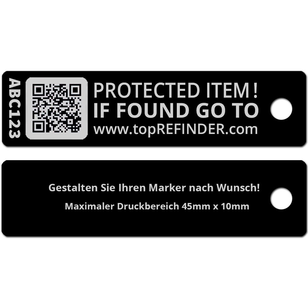 Hochwertiger, individueller Aluminium-Anhänger zur anonymen Kennzeichnung Ihres Eigentums, in Schwarz (Ideal zum Schutz Ihres Schlüssels vor Verlust)