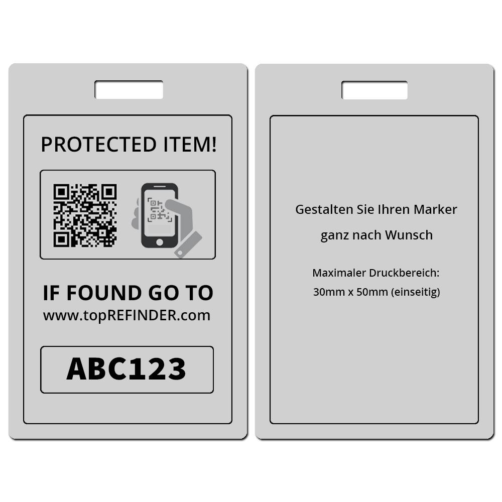 Hochwertiger, individueller Universal Aluminium-Anhänger zur anonymen Kennzeichnung Ihres Eigentums, in Silber-Matt (schützt Ihre Taschen, Koffer, Rucksäcke uvm. vor Verlust)