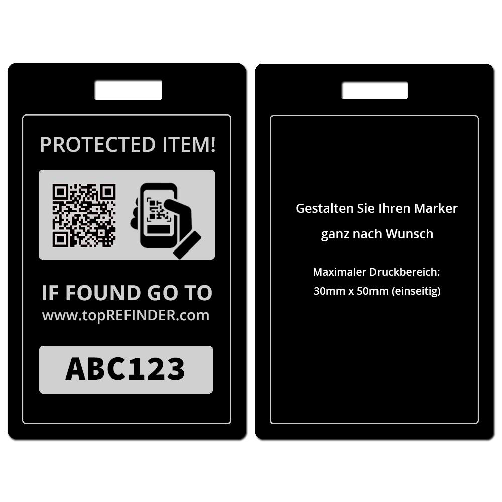 Hochwertiger, individueller Universal Aluminium-Anhänger zur anonymen Kennzeichnung Ihres Eigentums, in Schwarz (schützt Ihre Taschen, Koffer, Rucksäcke uvm. vor Verlust)