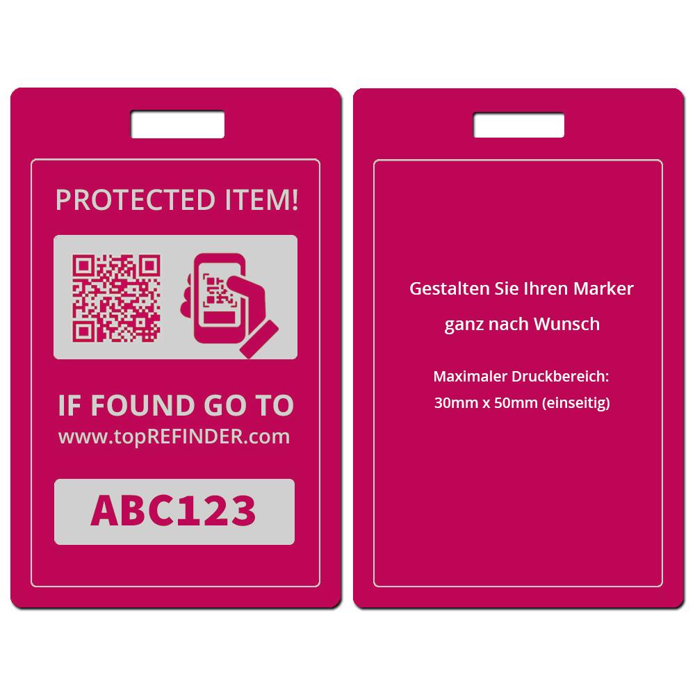 Hochwertiger, individueller Universal Aluminium-Anhänger zur anonymen Kennzeichnung Ihres Eigentums, in Pink (schützt Ihre Taschen, Koffer, Rucksäcke uvm. vor Verlust)