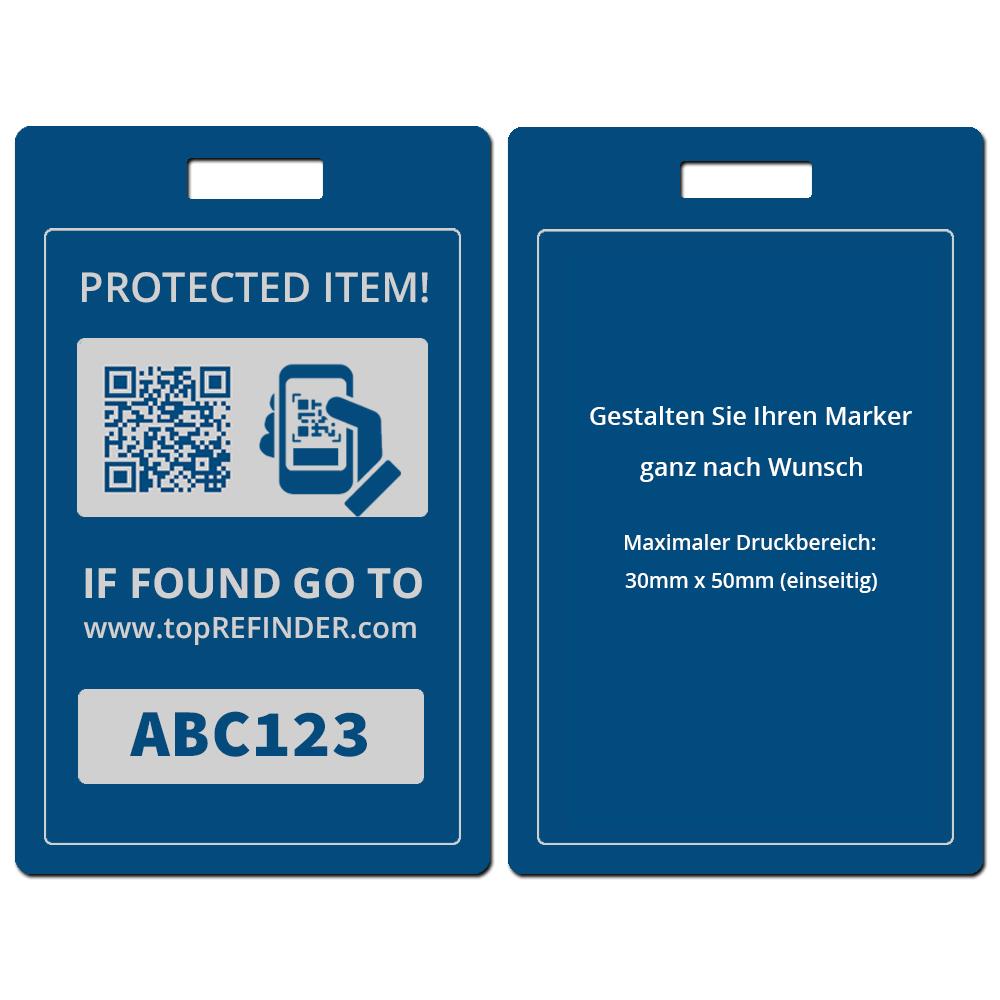 Hochwertiger, individueller Universal Aluminium-Anhänger zur anonymen Kennzeichnung Ihres Eigentums, in Blau (schützt Ihre Taschen, Koffer, Rucksäcke uvm. vor Verlust)
