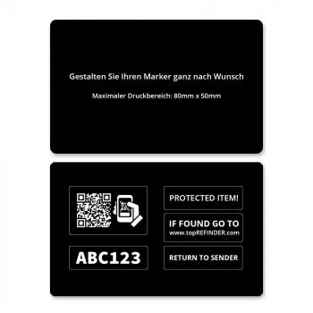 Hochwertige,  individuelle Plastikkarte im Kreditkartenformat zur anonymen Kennzeichnung Ihres Eigentums, in Schwarz  (zum Schutz Ihrer Geldbörse uvm.)