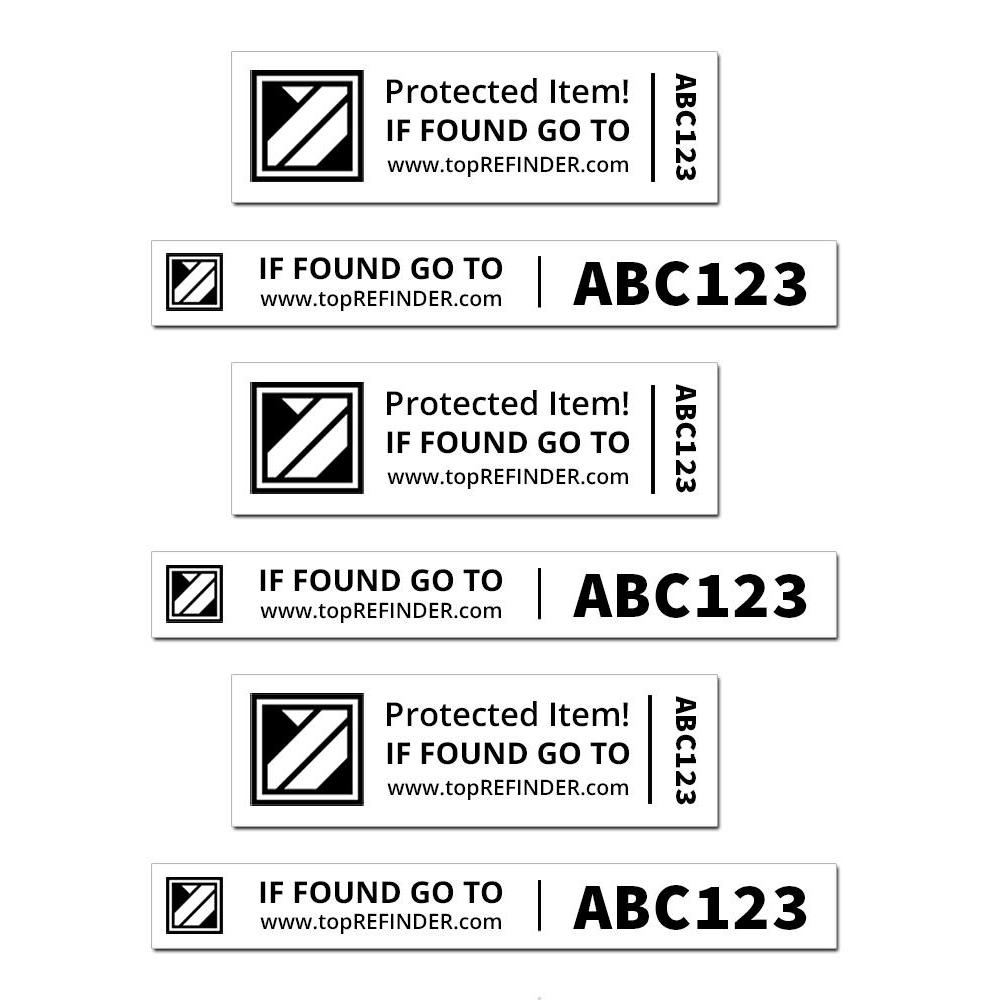 Aufkleber-Set (2x3) zur anonymen Kennzeichnung Ihres Eigentums, in Weiß (schützt Ihr Smartphone, ihren Notebook, Ihre Kamera uvm. vor Verlust)