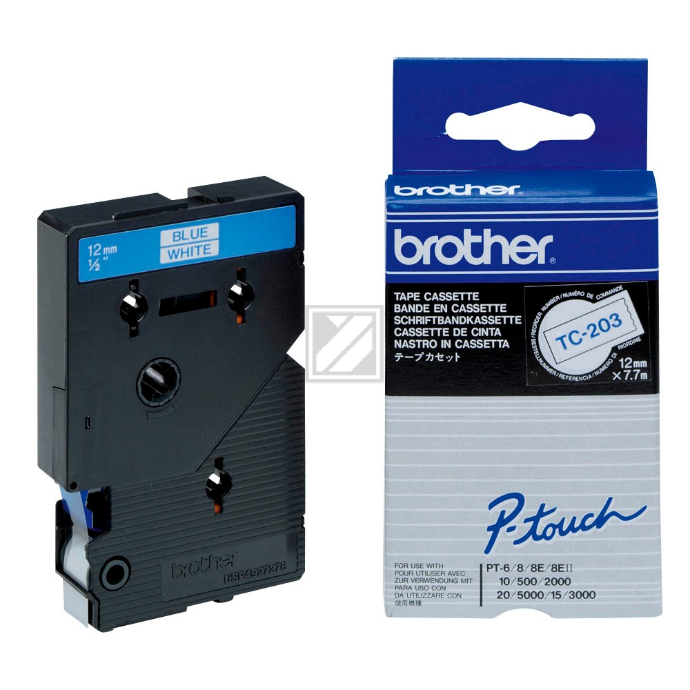 BROTHER P-TOUCH 12MM WEIß/BLAU