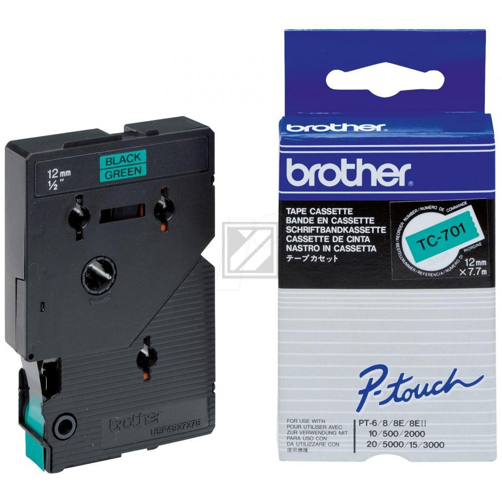 BROTHER P-TOUCH 12MM GRÜN/ SCHWARZ