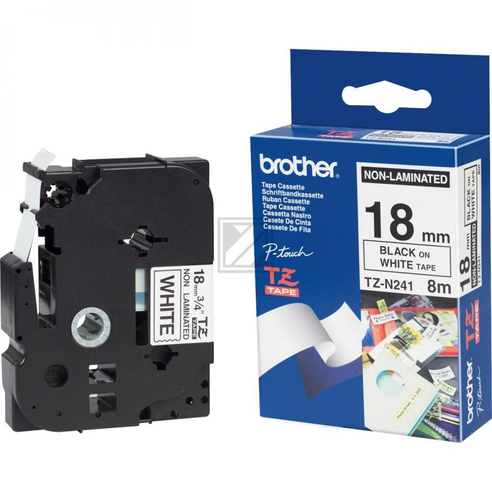 BROTHER P-TOUCH 18MM WEIß/SCHW #22740 NICHT LAMINIERT TZN241