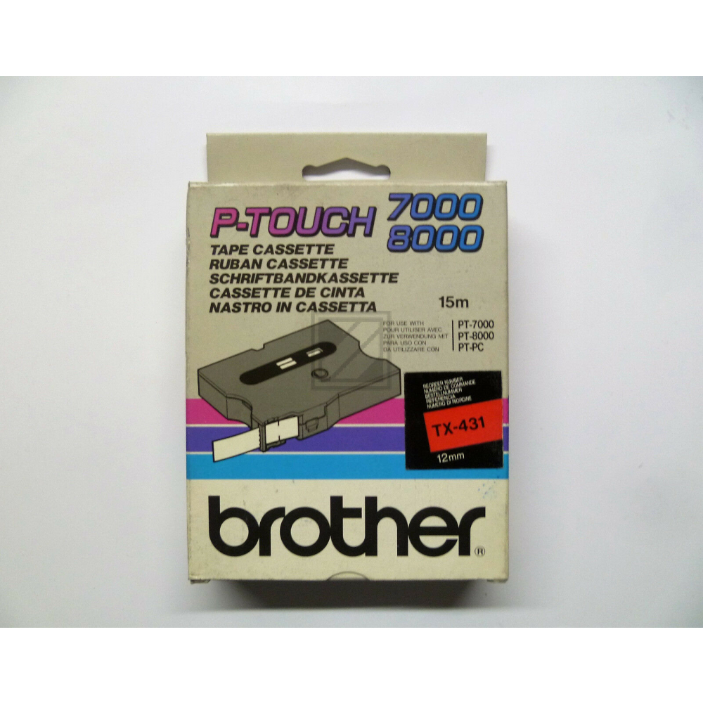 BROTHER P-TOUCH 12MM ROT/SCHW.
