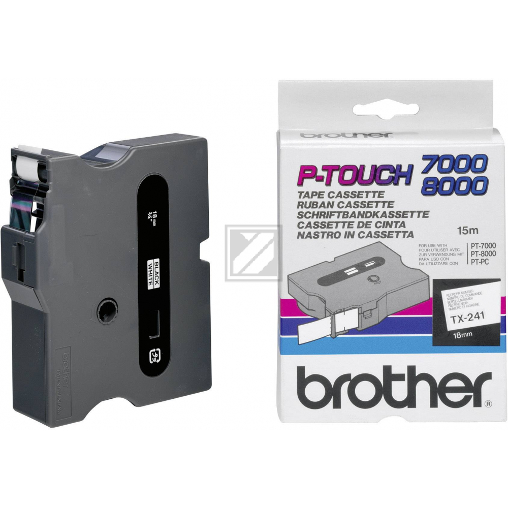 BROTHER P-TOUCH 18MM WEIß/SCHW # TX241XF1