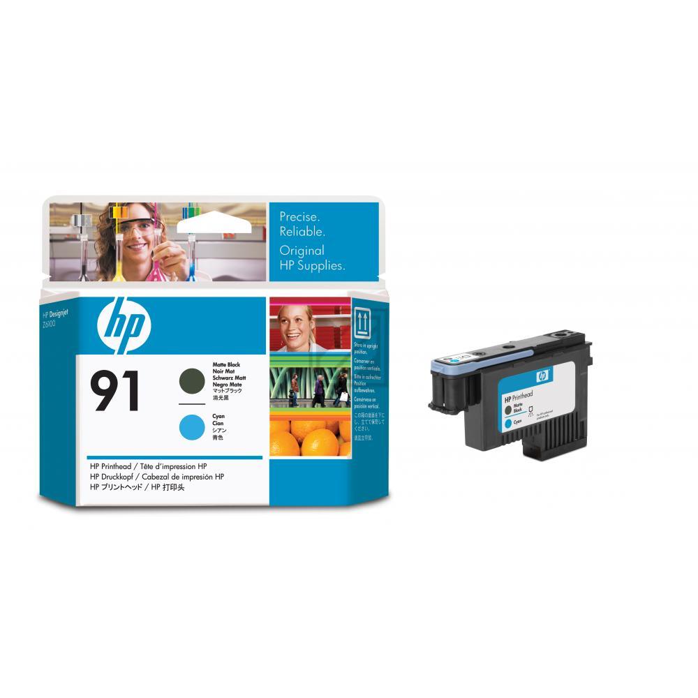HP 91, HP Druckkopf, schwarz matt und cyan