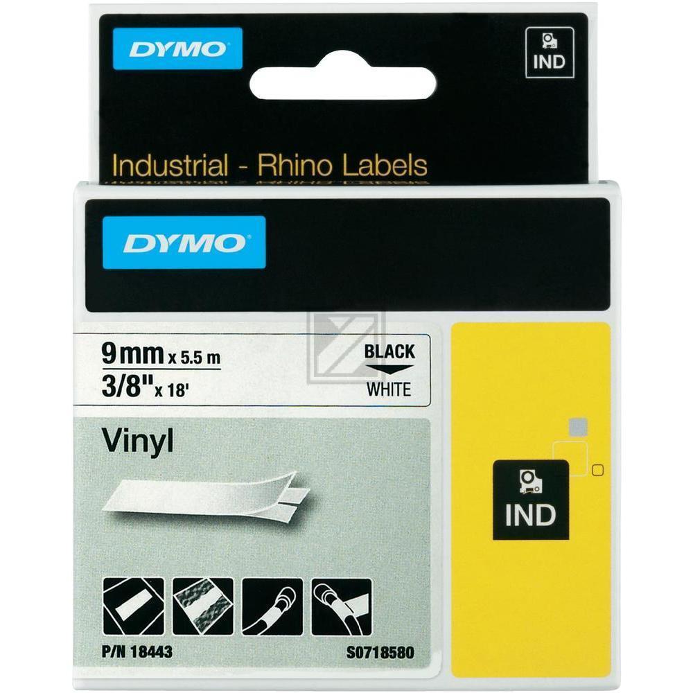 Dymo Farbiges Vinylband 9mm schwarz/weiß (18443)