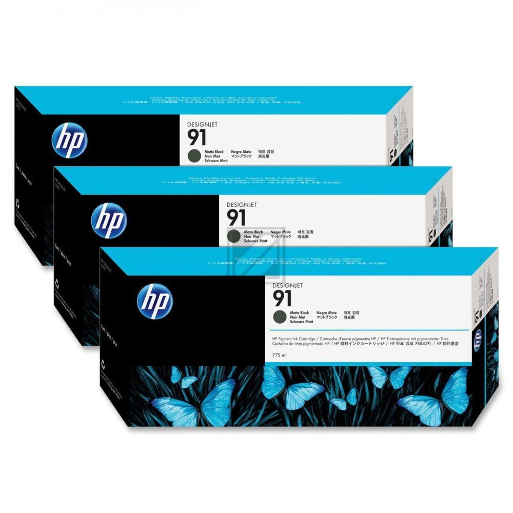 HP 91 | Combopack 3er Set, HP Tintenpatrone, schwarz matt