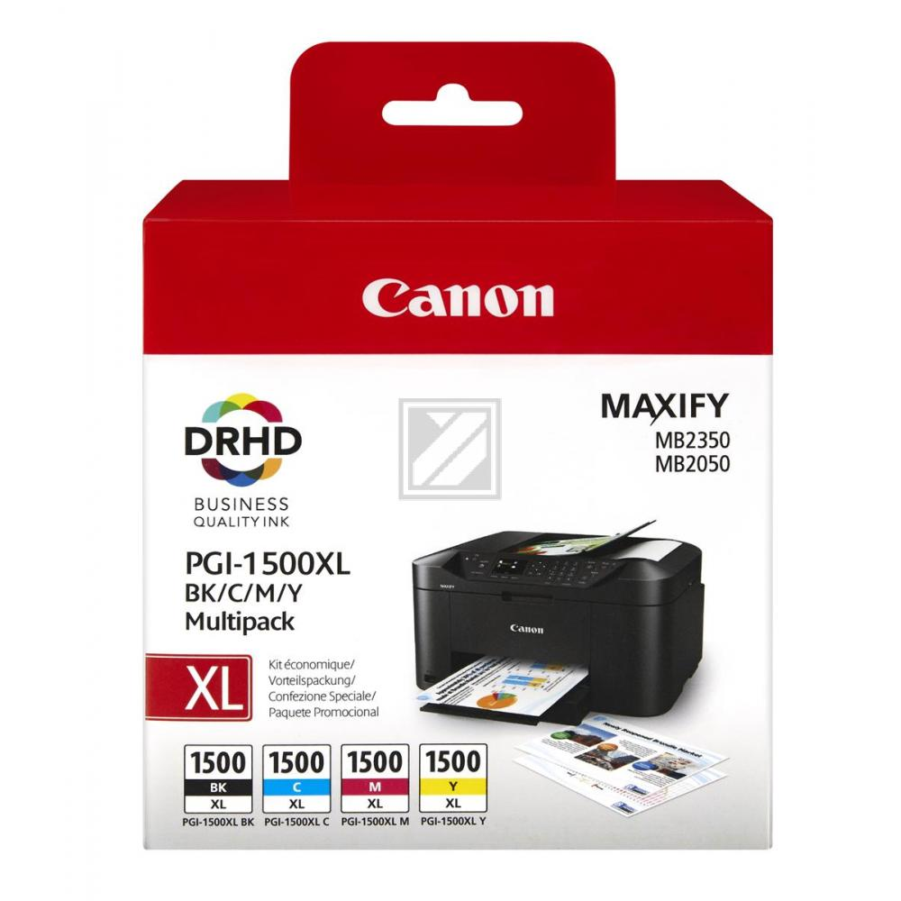 Canon Tintenpatrone gelb, cyan, schwarz, magenta HC (9182B004, PGI-1500XL)