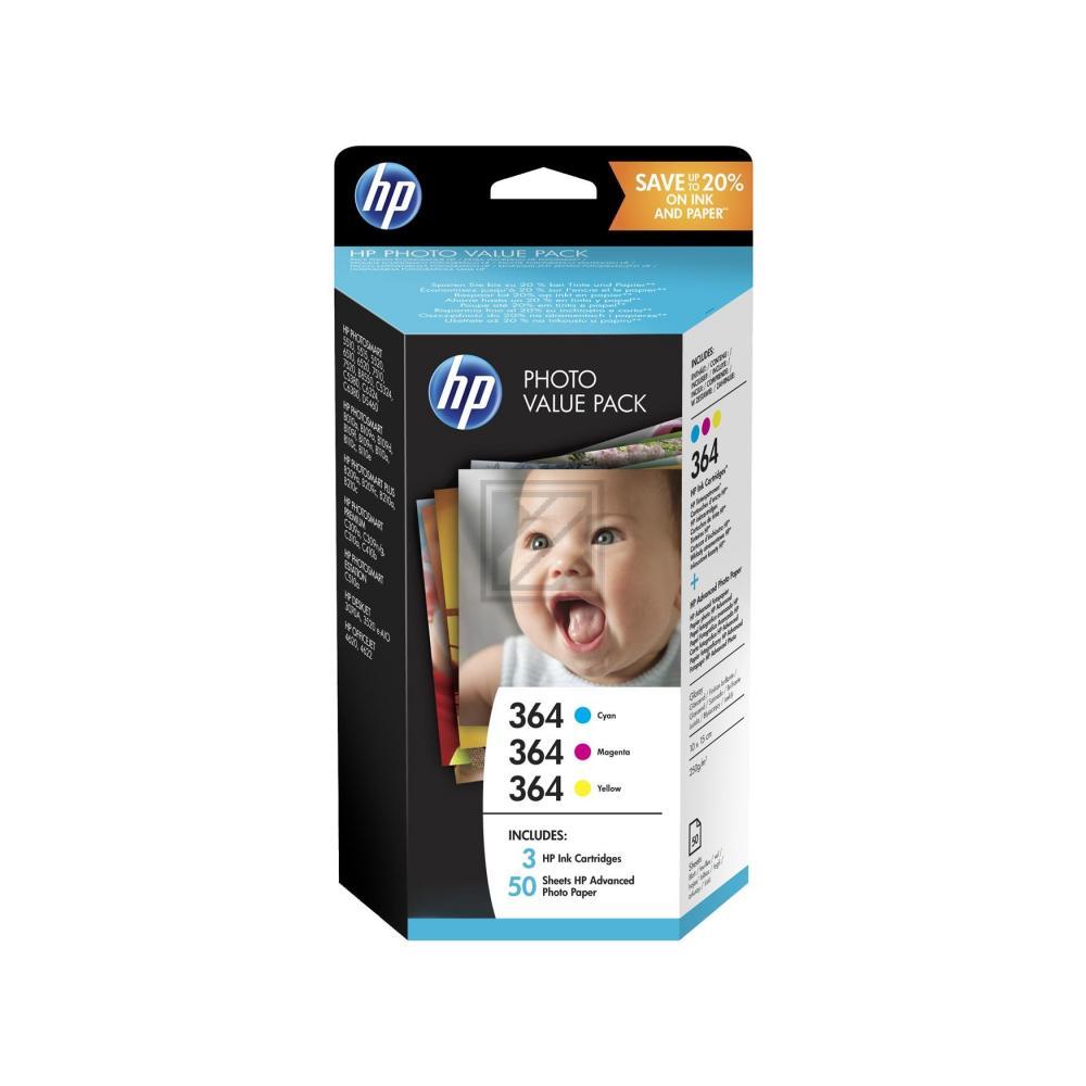 T9D88EE / 364er HP Value Pack Tinte  Papier / T9D88EE / cmy 50 Blatt Hochglanzpapier 250g/qm