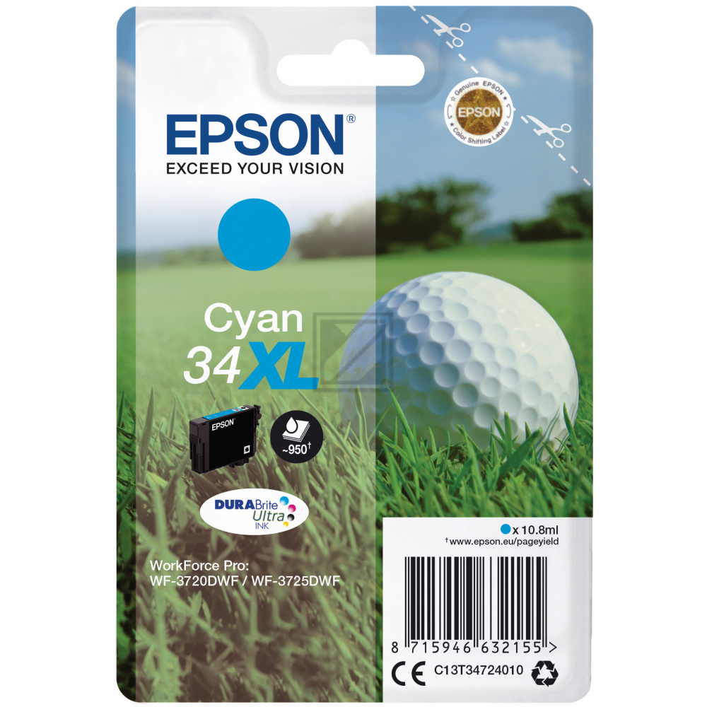 Epson Tintenpatrone cyan HC (C13T34724010, T3472)