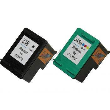 2 Compatible Ink Cartridges to HP HP338 + HP343  (BK & Colours)