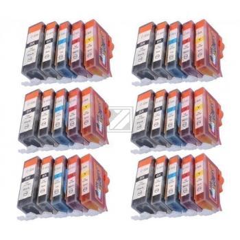 30 Compatible Ink Cartridges to Canon PGI-520 / CLI-521  (BK, PHBK, C, M, Y)