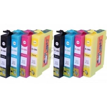 8 Compatible Ink Cartridges to Epson T1281 - T1284  (BK, C, M, Y)