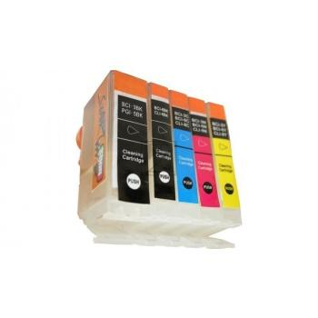 5 Compatible Cleaning Cartridges to Canon BCI-3 / BCI-6  (BK, PHBK, C, M, Y)
