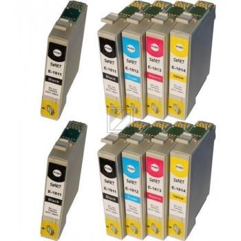 10 Compatible Ink Cartridges to Epson T1811 - T1814  (BK, C, M, Y)