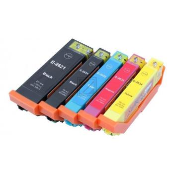 5 Compatible Ink Cartridges to Epson T2621 - T2634  (BK, PHBK, C, M, Y) XL