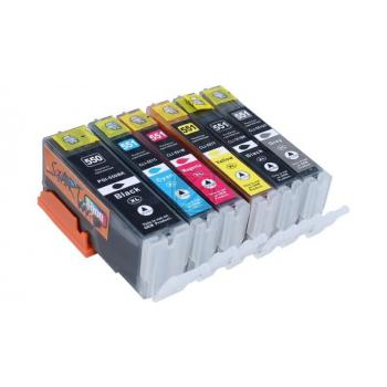 6 Compatible Ink Cartridges to Canon PGI-550 / CLI-551  (BK, PHBK, C, M, Y, GY) XL
