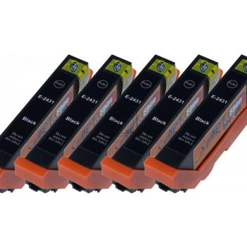 5 Compatible Ink Cartridges to Epson T2431 - T2436  (BK)