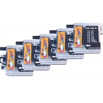5 Compatible Ink Cartridges to Brother LC980 / LC1100  (BK, C, M, Y)