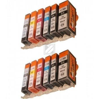 12 Compatible Ink Cartridges to Canon PGI-525 / CLI-526  (BK, PHBK, C, M, Y, GY)