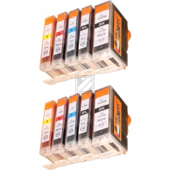 10 Compatible Ink Cartridges to Canon PGI-5 / CLI-8  (BK, PHBK, C, M, Y)