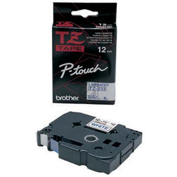 BROTHER P-TOUCH 12MM WEIß/BLAU #22430 LAMINIERT NEU TZE-233