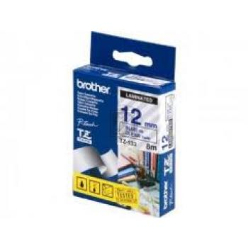 BROTHER P-TOUCH 12MM FARBLOS/ BLAU #22422 LAMINIERT TZE-133