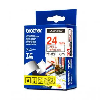 BROTHER P-TOUCH 24MM WEIß/ROT #22455 LAMINIERT NEU TZE-252