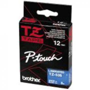 BROTHER P-TOUCH 12MM BLAU/WEIß #22437 LAMINIERT NEU TZE-535