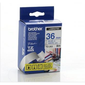 BROTHER P-TOUCH 36MM WEISS/BLA WEISS/BLAU  NEU TZE-263