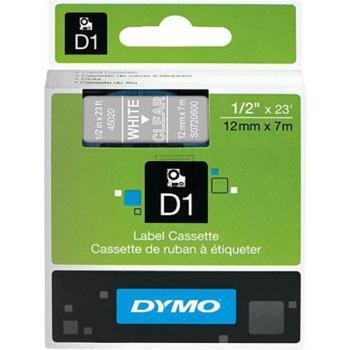 Dymo 45020 / S0720600 D1-Band 12mm weiß auf Transparent