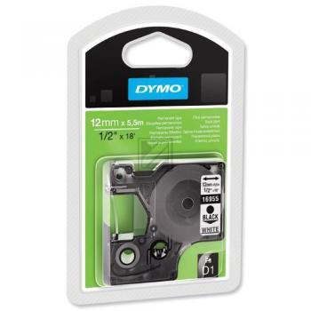 Dymo 16959 / S0718060 D1 Permanente Polyestertape 12mm schwarz auf weiß