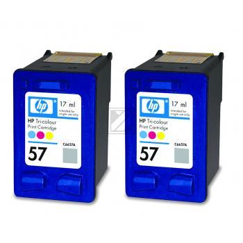 Hewlett Packard Tintenpatrone 2x cyan/gelb/magenta High-Capacity (C9503AE, 2x 57)